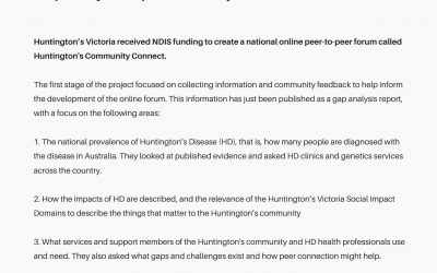 Huntington's Community Connect: Gap analysis report published